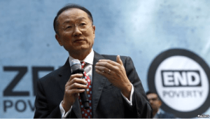 "FILE - World Bank Group President Jim Yong Kim addresses the crowd at a program for the ""EndPoverty 2030"" campaign in Washington."