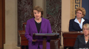 Senate Intelligence Committee Chair Senator Dianne Feinstein, a Democrat, speaks about the recently released report of CIA interrogation practices on the Senate floor on Capitol Hill in Washington, Dec. 9, 2014.