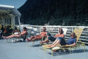 Catching a few rays on board our ferry