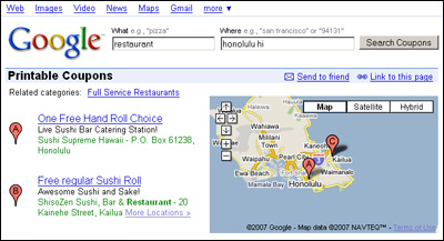 Coupons in Google Map Search
