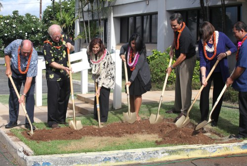 PBS Hawaii staff, board members and production students attended a small groundbreaking ceremony for the station's new headquarters on Nov. 10. From left: Neil Hannahs, former PBS Hawaii Board Chair; Robbie Alm, current PBS Hawaii Board Chair; Leslie Wilcox, PBS Hawaii President and CEO; Victoria Cuba, HIKI NO and Waipahu High School graduate; Cameron Nekota, PBS Hawaii Board Facilities Chair; Sheryl Seaman, Group 70 International Vice Chair; Justin Izumi, Allied Builders System Vice President.