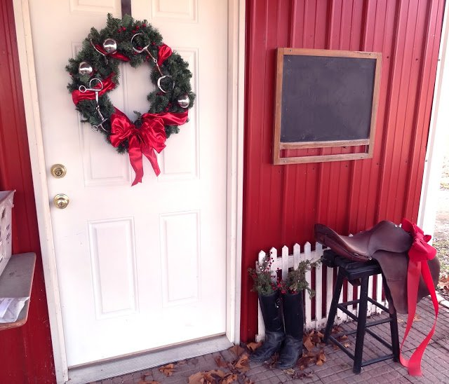 repurposing old horse bits for a DIY Equestrian Christmas Wreath
