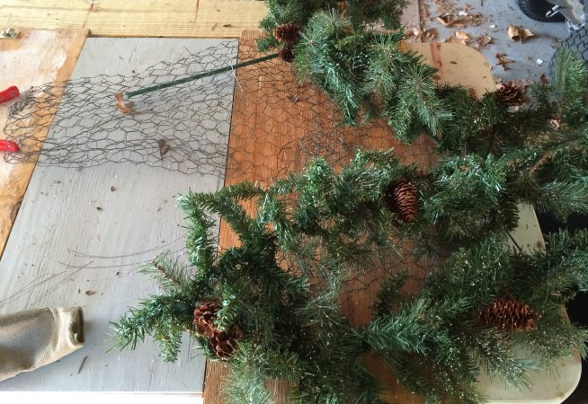 attach greenery to homemade r prepurchased wreath form
