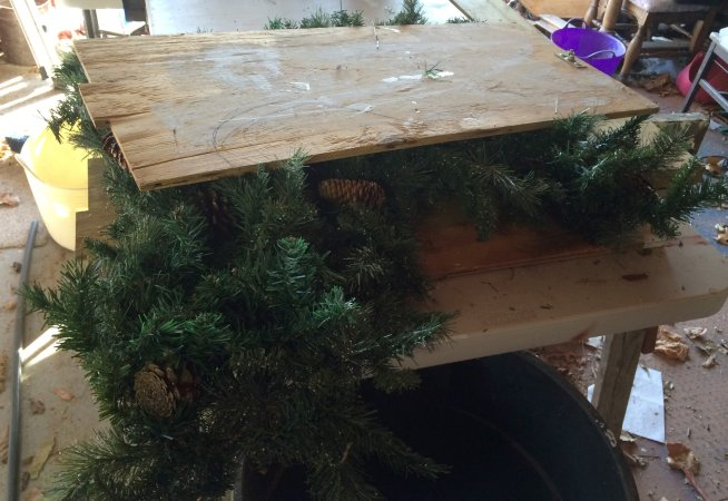 you may need to smash your wreath flatter to neaten appearance
