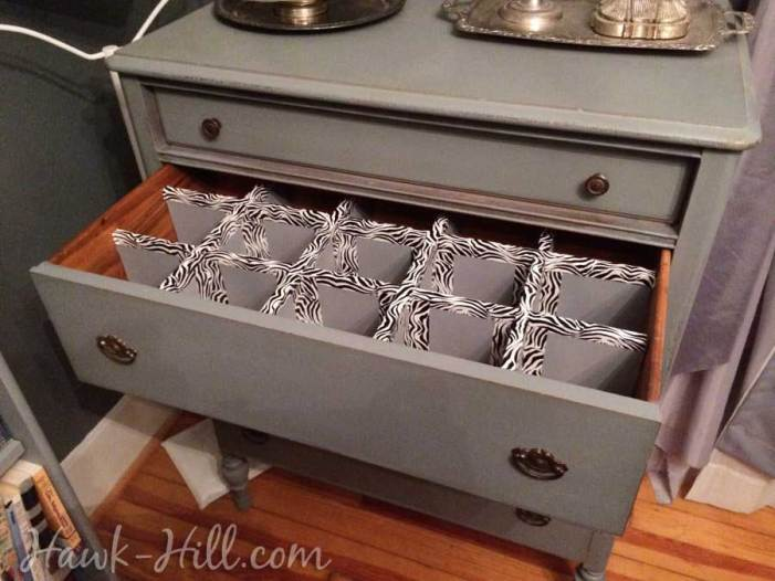 How to Make Durable Drawer Dividers for Pennies: Hawk-Hill.com - grey vintage dresser