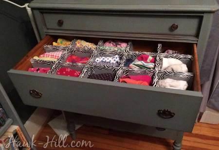 How to Make Durable Drawer Dividers for Pennies: Hawk-Hill.com - Lingere Drawer in Vintage Dresser