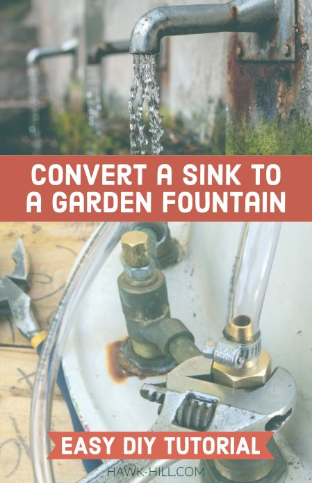 tutorial to convert a sink to a garden fountain