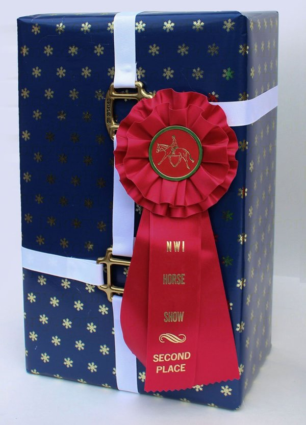 wrapped package equestrian style with halter hardware and rosette