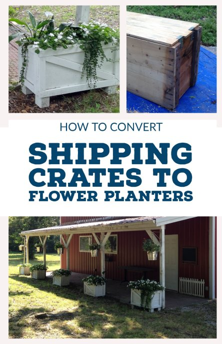 How to convert old shipping crates into french provincial style flower boxes
