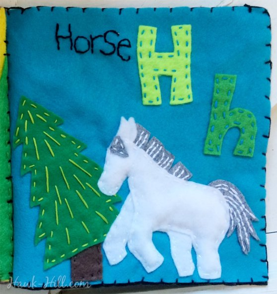 H page in my quiet book is a horse