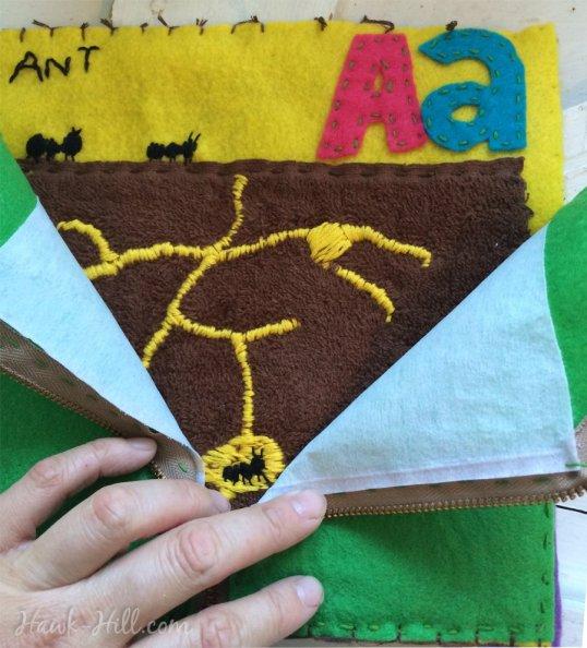 Quiet Book zippered ant farm