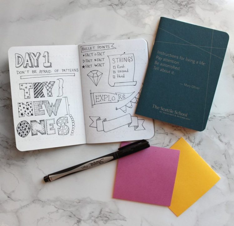 a notebook of hand lettering ideas