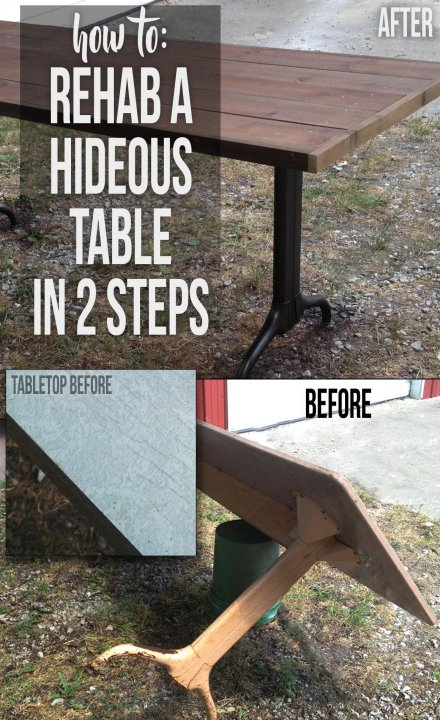 A step by step explanation of how I converted an ugly, damaged, and rusty table into a industrial schoolhouse style table.