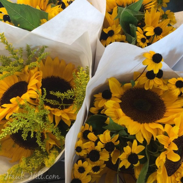 Sunflowers & Black Eyed Susans at the Market today for $6 a bunch