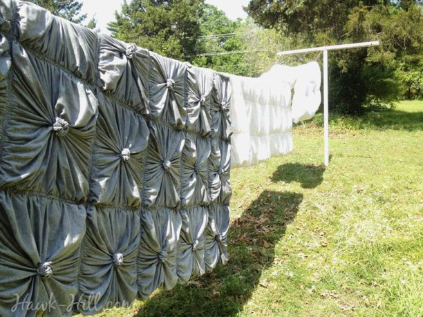 anthropologie rosette quilt drying on clothesline after commercial wash