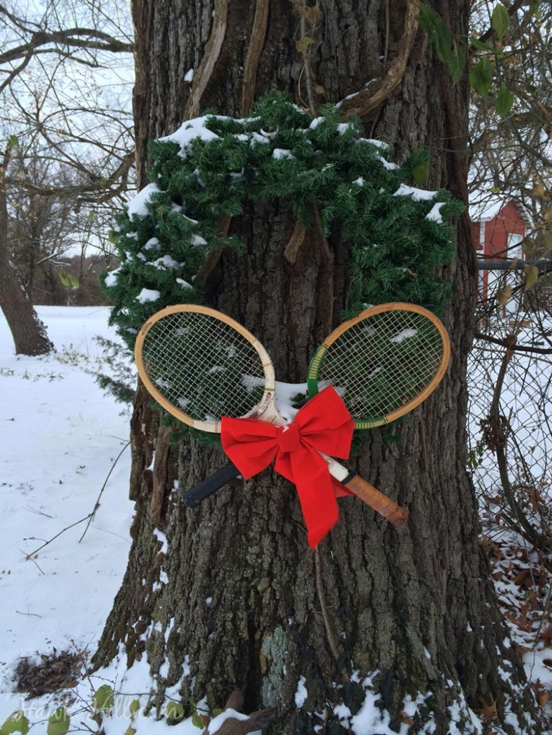 decorating a deciduous tree for christmas ice skates