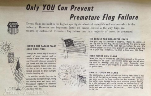 vintage instructions for caring for an american flag