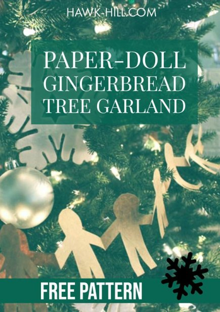 Paper Doll Style Gingerbread Man Christmas Tree Garland