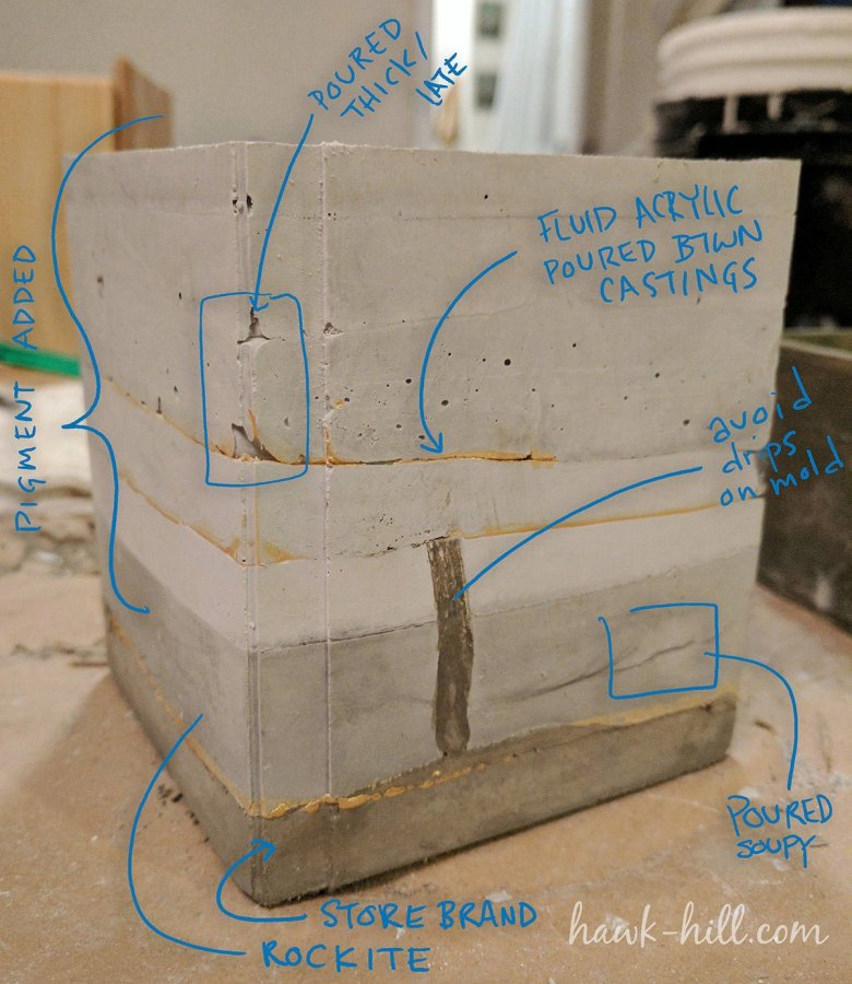 This test piece demonstrates many of the methods and mistakes of adding gold veins to wet cement.