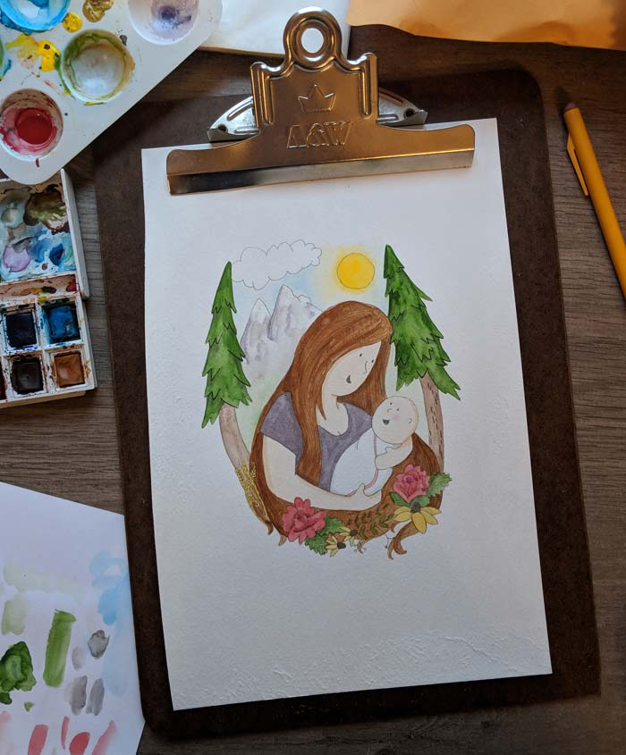 watercolor painting of a mother holding a baby