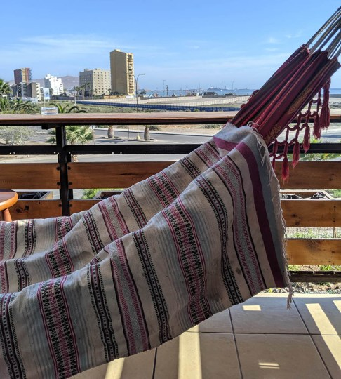 One of my favorite finds to date, this handwoven rug was $2 USD at our resellers stall in the street market in Arica. I washed it a few times and dried it on my balcony before taking it home and getting professionally cleaned and restored