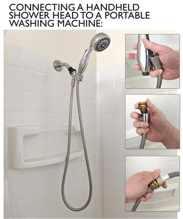 how to attach a portable washing machine to a shower head
