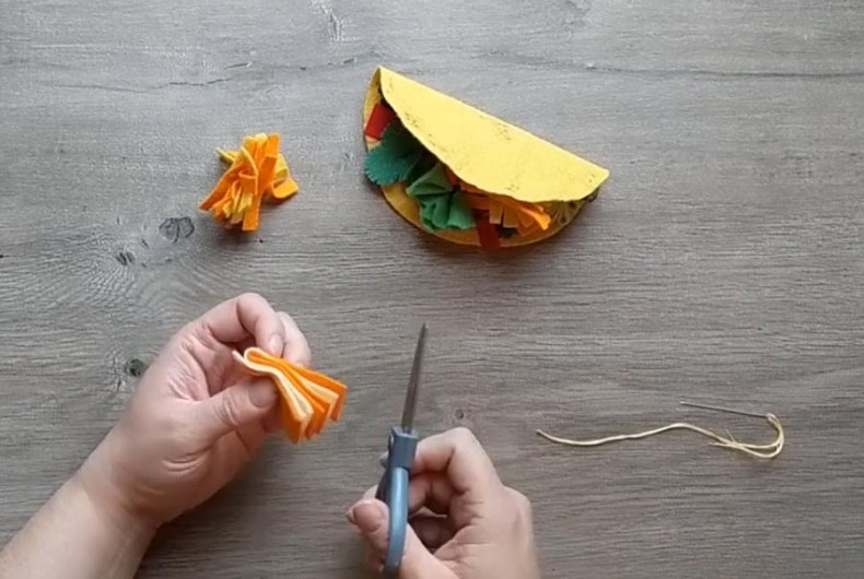 making felt shredded cheese