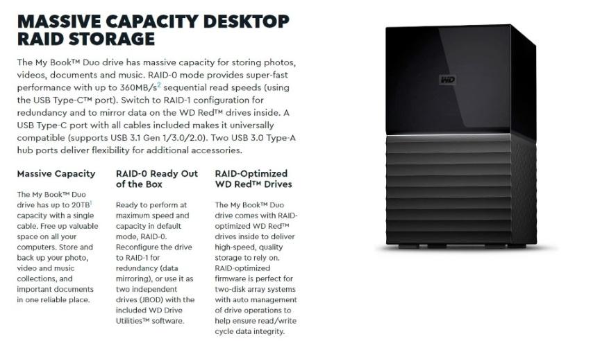 WD My Book Duo 12TB Desktop RAID External Hard Drive USB 3 1 Gen2 - Black  Hardware Encryption  3 Years Warranty