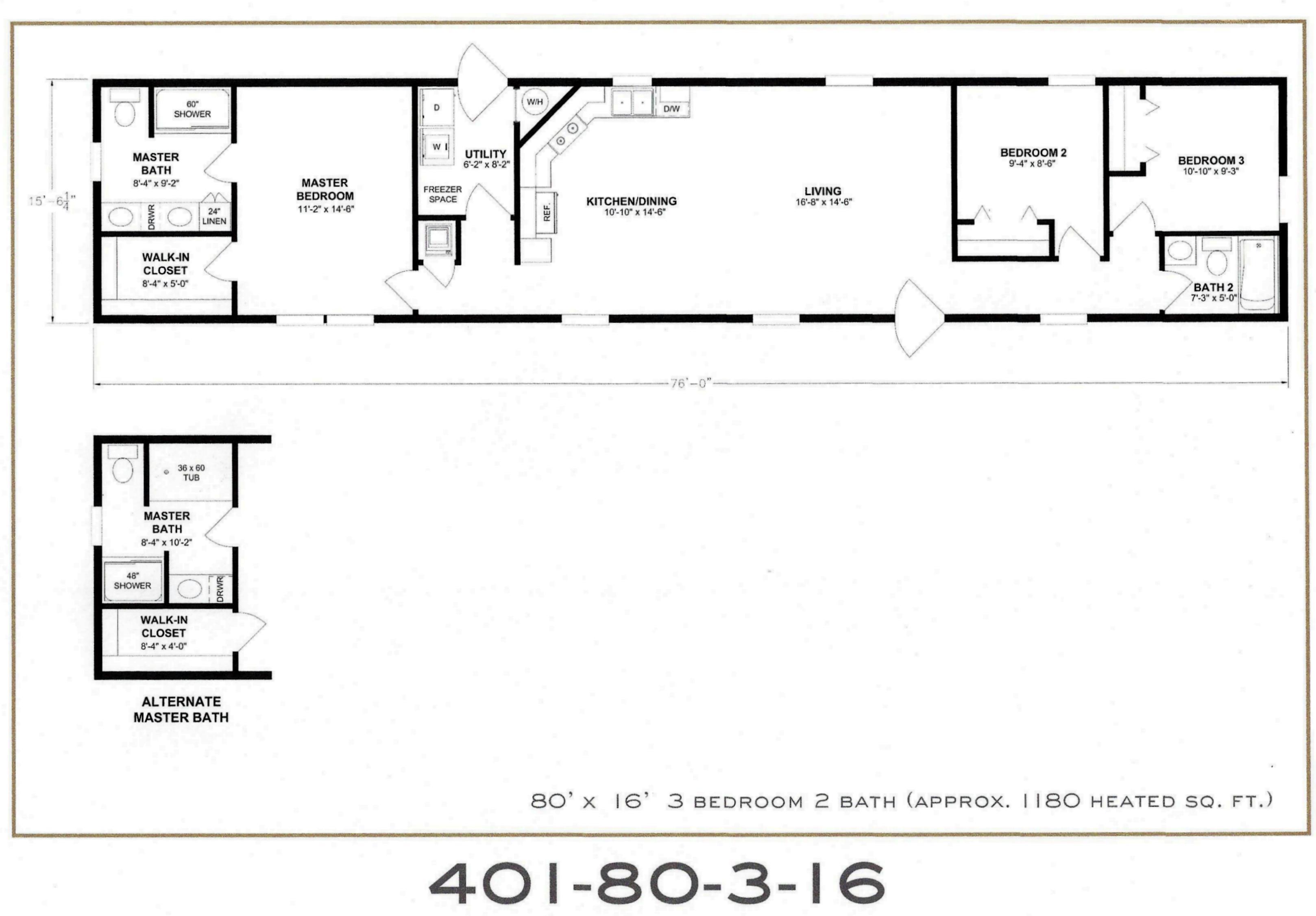 3 Bedroom Floor Plan F 401