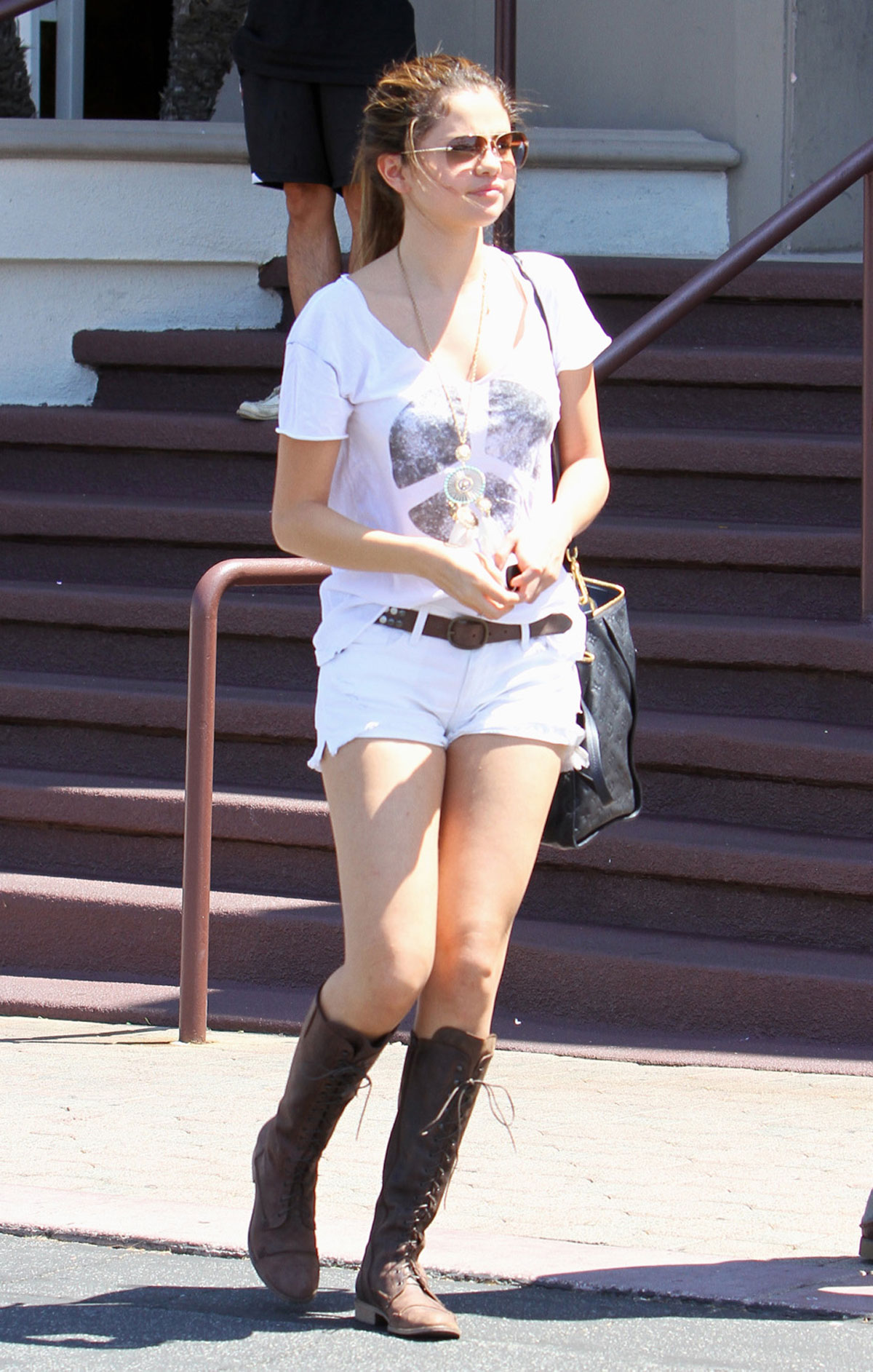 SELENA GOMEZ In Boots And Shorts Out And About In Encino HawtCelebs