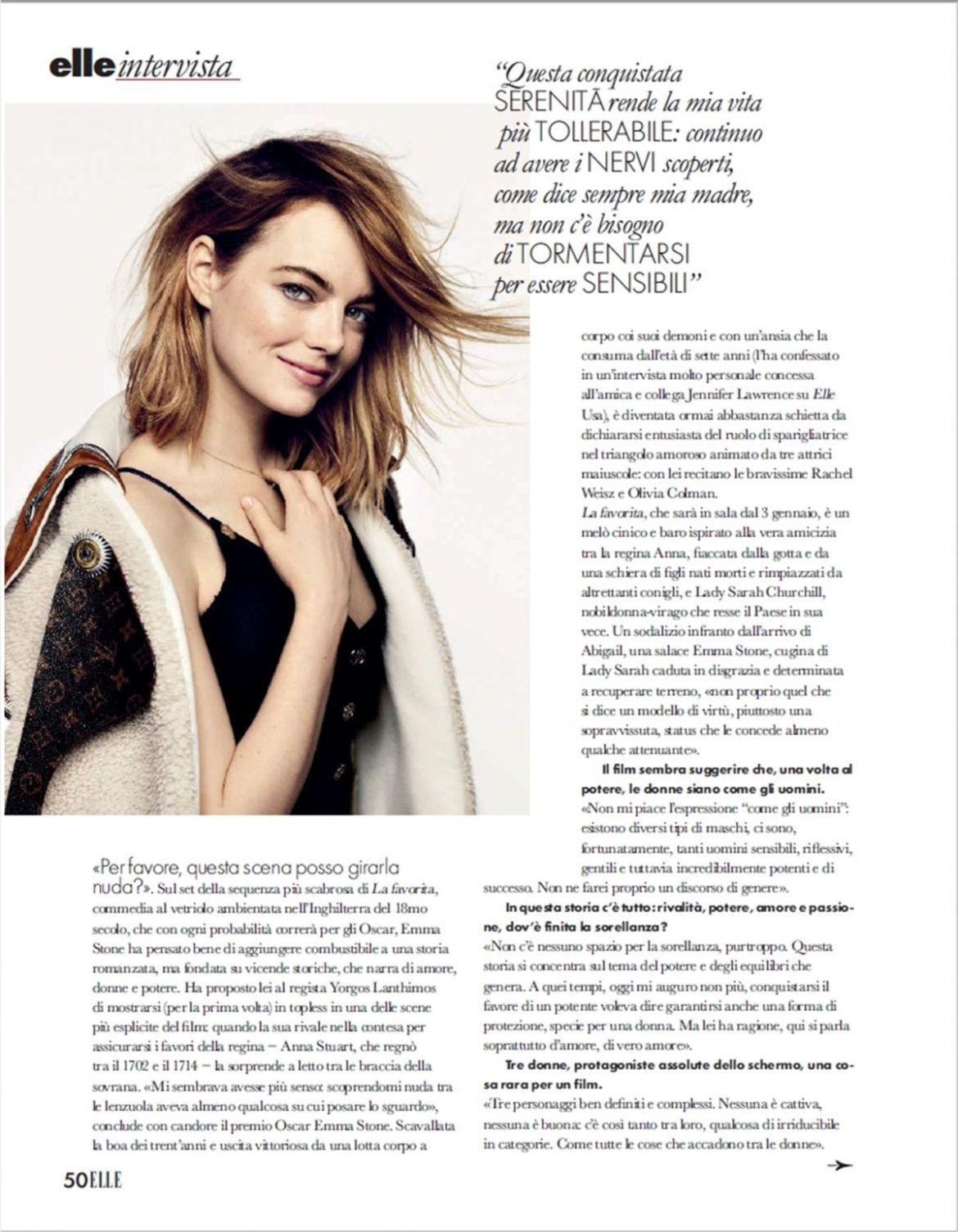 EMMA STONE in Elle Magazine, Italy January 2019