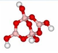מבנה של   [B4O5(OH)4]2− אטומי בור -וורוד, אטומי חמצן - אדום, מימנים - לבן.  שני אטומי בור (בקצוות) במרכז משולש מישורי ושני אטומי בור (מגשרים) במרכזי טטראדרים