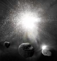 אסטרואיד או שביט שעלולים לכאורה לפגוע בנו ב-2012. איור: universe today