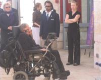 סטיבן הוקינג במוזיאון המדע בירושלים, דצמבר 2006. צילום: אבי בליזובסקי