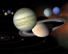 """מערכת השמש - כוכבי הלכת מוצגים לפי גודלם היחסי. איור נאס""""א"""