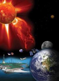 """השפעת סופות השמש על כדור הארץ. איור: נאס""""א"""
