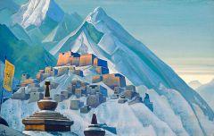 כפר טיבטי בהימלאיה. ציור: Nicholas Roerich