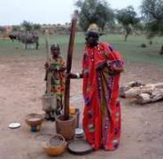 אוכלים טוב. נשים בכפר Hondo Tchiri שב Burkina Faso מכינות דוחן קילו, גרגר עתיר סיבים המהווה מרכיב במנות רבות. קרדיט: מרקו שמידט