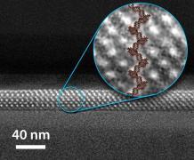 מולקולות DNA מזדחלות דרך חרירים ננומטריים. איור: המעבדות הלאומיות סנדיה
