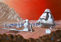 """איור של משלחת אנושית על מאדים. קרדיט: נאס""""א"""