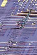 עיבוד צבעוני של תמונת מיקרוסקופ אלקטרונים סורק של ננו-מעבד ניתן לתכנות המונח על ארכיטקטורה סכמטית של מעגל ננו-מעבדים