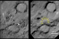 צמד תמונות אלה מראה השוואה של לפני ואחרי של חלק מהשביט טמפל-1 שנפגע בידי הקליע ששיגרה אליו החללית דיפ אימפקט ב-2005, כפי שצולם מהחללית סטארדאסט שביקרה אותו ב-14 בפברואר 2011