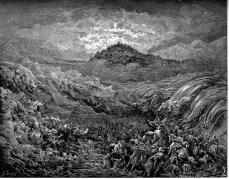 הצבא המצרי טובע בים סוף בעוד בני ישראל חוצים אותו למדבר סיני. מתוך איורי התנך של גוסטב דורה