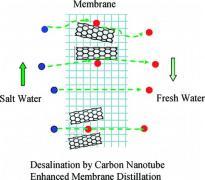 """מערכת להתפלת מי-מלח תוך שימוש בננו-שפופרות פחמן המעוגנות ע""""ג חרירי קרומית."""