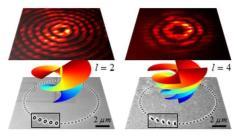"""ננו-מנוע אופטי המבוסס על סחרור אור בעזרת שרשרת מעגלית של ננו-אנטנות """"ביגלה"""" (א) וננו-מוטות בכיוונים שונים לאורך השרשרת (ב) המאפשר הגברת סחרור האור."""