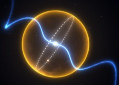 תרשים של מערכת הפולסאר וכוכב הלכת PSR J1719-1438 בעל תקופת הקפה של 5.7 מילישניות במרכזו, ומוקף על ידי כוכב לכת בהשוואה לשמש (בצהוב). איור: Credit: Swinburne Astronomy Productions, Swinburne University of Technology