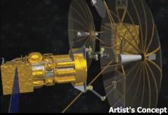 """לוויין קטן מפרק אנטנה מלוויין תקשורת כדי לחברה ללוויין חדש. איור אמן: דארפ""""א"""