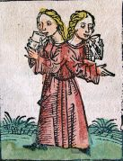 תאומות סיאמיות שאיורן נשמר ברשומות העיר נירנברג, 1493. מתוך ויקיפדיה