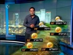 החזאי דני רופ, במהלך הגשת התחזית בערוץ 10 בימים חמים יותר. צילום מסך מתוך יוטיוב