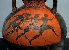 כד יווני ועליו ציור של רצים במשחקים הפן אתלטיים, 530 לפני הספירה. מתוך ויקיפדיה